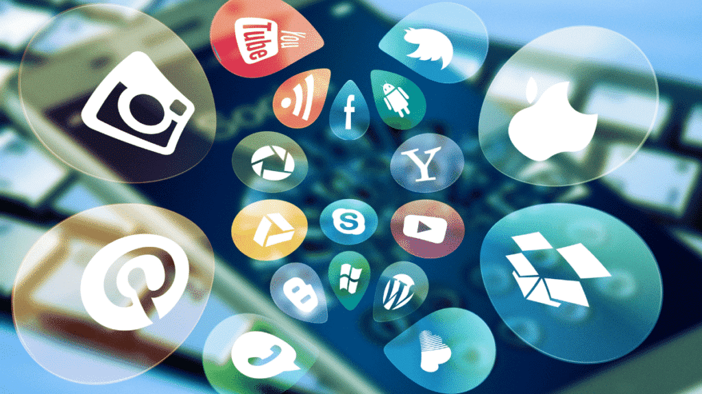 A picture showing different social media platform icons: Social media essay